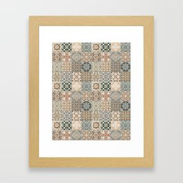 N49 - Oriental Traditional Moroccan Farmhouse Style Texture Artwork. Framed Art Print