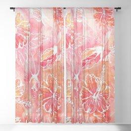 Hibiscus | Tropical Watercolor in Coral, Pink, Orange | #hibiscus #tropicalflower Sheer Curtain