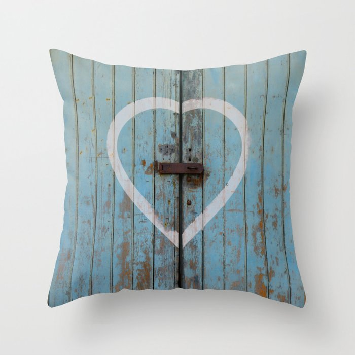 Rustic Blue Heart Throw Pillow