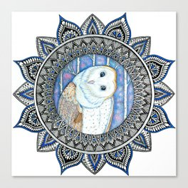 Winter Barn Owl Mandala Canvas Print