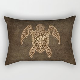 Intricate Vintage and Cracked Sea Turtle Rectangular Pillow