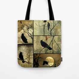 Aged Crow Collage Tote Bag