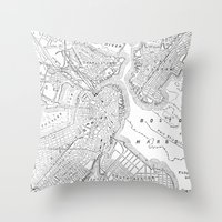 boston map Throw Pillows featuring Vintage Map of Boston (1878) by BravuraMedia
