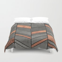Abstract Chevron Pattern - Concrete and Copper Duvet Cover