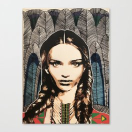 Boho Girl, unique stencil art painting with embroidery Canvas Print
