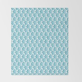 Turquoise Blue Ombré Abstract Wave Pattern Throw Blanket