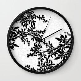 Black and White Leaf Toile Wall Clock