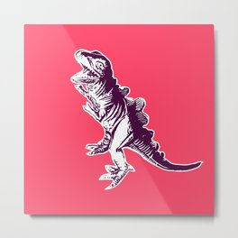 Dino Pop Art - T-Rex - Neon Pink & Dark Purple Metal Print