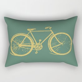 Gold Bicycle on Turquoise Rectangular Pillow