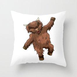 Dancing Highland Cow Heilan Cattle Throw Pillow