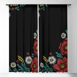 Embroidered Flowers on Black Corner 04 Blackout Curtain
