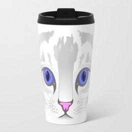 Cute white tabby cat face close up illustration Travel Mug
