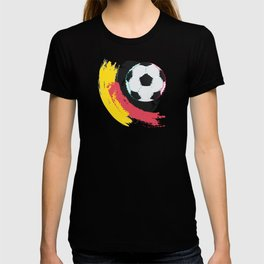 Football ball and red, yellow strokes T-shirt