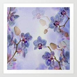 Watercolor Purple Orchids Art Print