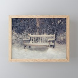 A Place to Rest, sitting bench, winter, at Creamers Field Framed Mini Art Print