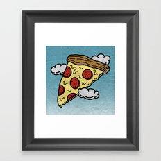 Floating Pizza Framed Art Print