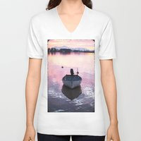 boat V-neck T-shirts featuring Boat by Dora Birgis