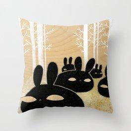 Suspicious Bunnies Throw Pillow