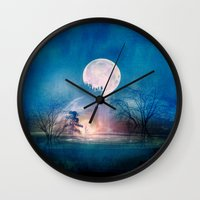sun and moon Wall Clocks featuring Moon Above, Sun Below by Viviana Gonzalez