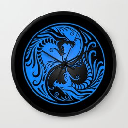 Blue and Black Yin Yang Dragons Wall Clock