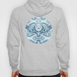 Lily, Leaf & Triangle Pattern – blues Hoody