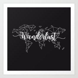 Wanderlust geometric world map Art Print