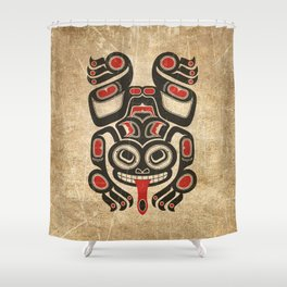 Red and Black Haida Spirit Tree Frog Shower Curtain