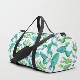 Watercolor hand painted violet green cactus floral Duffle Bag