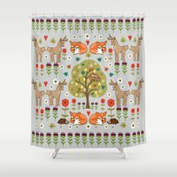 wild things Shower Curtains featuring Woodland Wild Things by Angie Spurgeon