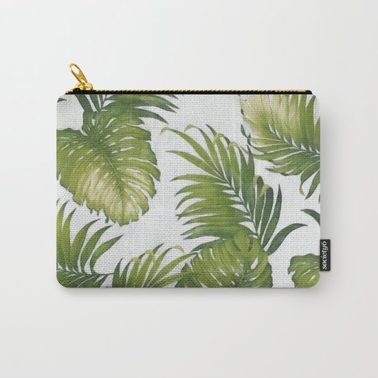 Monstera and palm leaves Carry-All Pouch