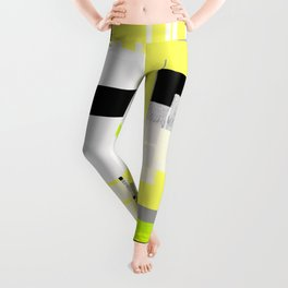 yellow white black silver grey green orange geometric modern art Leggings