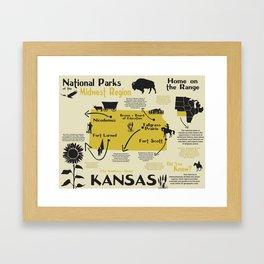Kansas National Parks Infographic Map Framed Art Print