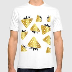 strawberry gold MEDIUM Mens Fitted Tee White