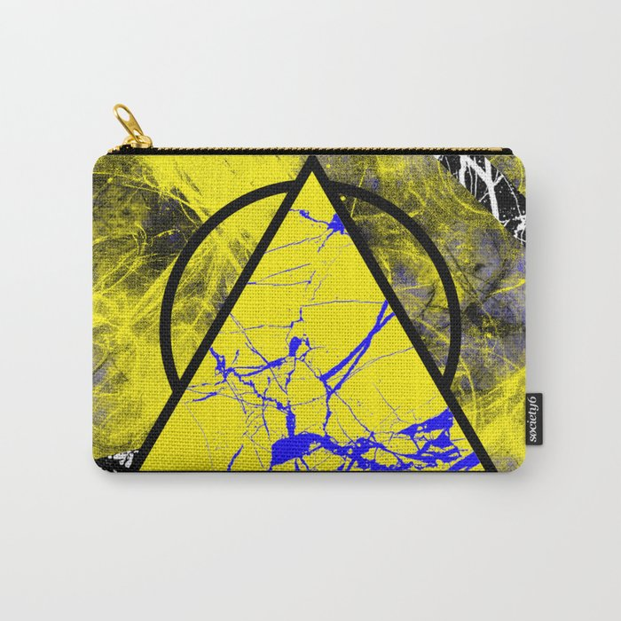 Night And Day - Blue And Yellow, Black And White, Abstract, Geometric, Marble Artwork Carry-All Pouch