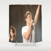 niall horan Shower Curtains featuring Louis Tomlinson.Niall Horan by Halle