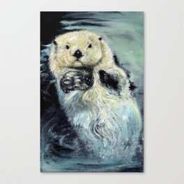 Sea otter painting Canvas Print