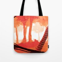 forrest Tote Bags featuring Dawn forrest by Rafael T. Pimentel