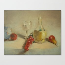 Fruit with Bottle of Water - Oil Painting Print Canvas Print