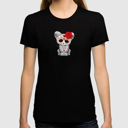 Red Day of the Dead Sugar Skull Snow Leopard Cub T-shirt