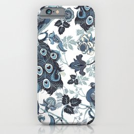 Blue Chinoiserie, peacocks, blue and white, chintz pattern iPhone Case