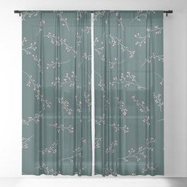 Berry Branches Pattern in Green and Pink Sheer Curtain