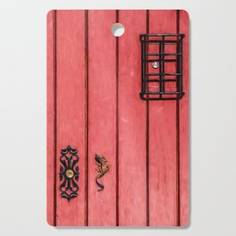Faded Weathered Red Painted Speakeasy Door of Old World Europe Cutting Board