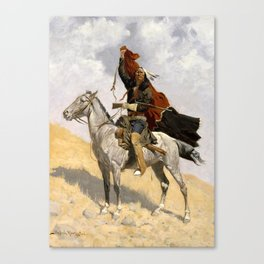 "Frederic Remington Western Art ""The Blanket Signal"" Canvas Print"