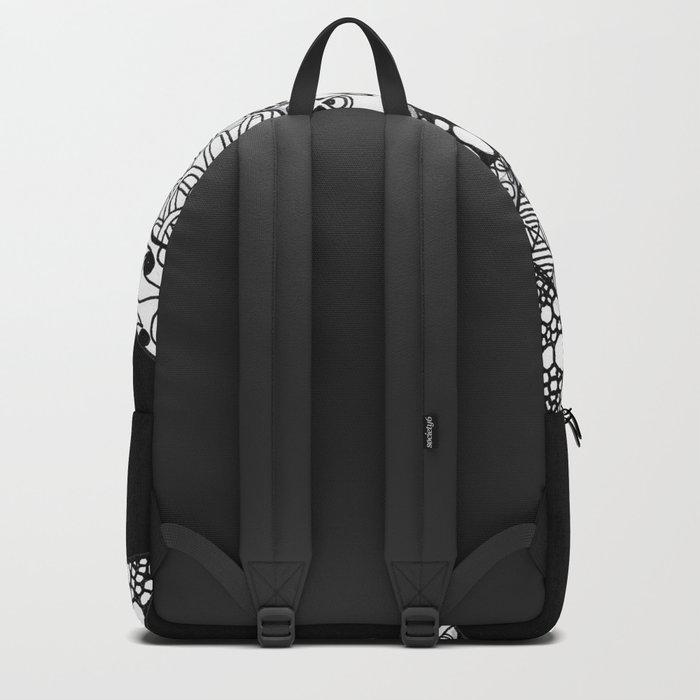 Midnight Zentangle Stars Black and White Illustration Backpack