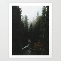 backpack Art Prints featuring Rainier Creek by Kevin Russ