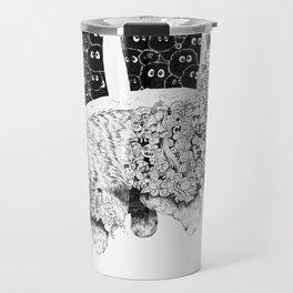 Studio Ghibli Cat Bus Black & White Zentangle Drawing Doodle Travel Mug