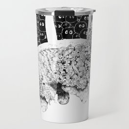 Studio Ghibli Cat Bus Black & White Zentangle Drawing Doodle Travel Mug