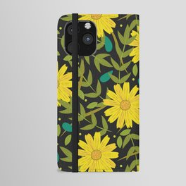 Sunflowers on Black iPhone Wallet Case