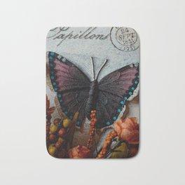 Butterfly Art, Papillions, Mixed Media Collage Art Bath Mat