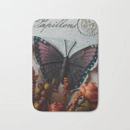 Butterfly Art, Papillions, Mixed Media Collage Art Bath Mat